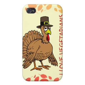 I Love Vegetarians Thanksgiving Cartoon Turkey iPhone 4/4S Cover