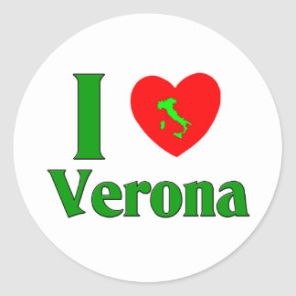 I Love Verona Italy Classic Round Sticker