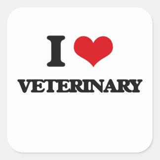 I love Veterinary Square Sticker