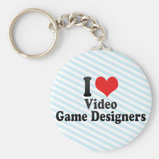 I Love Video Game Designers Basic Round Button Key Ring