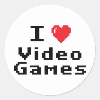 I Love Video Games Round Sticker