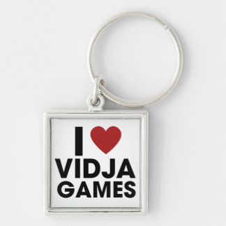 I love Video Games Silver-Colored Square Key Ring