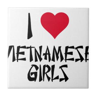 I Love Vietnamese Girls Small Square Tile