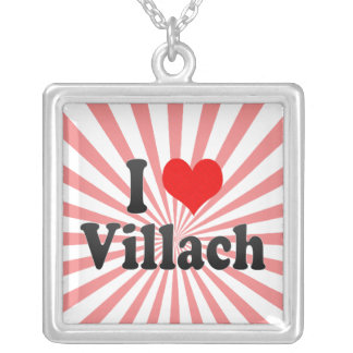I Love Villach, Austria Silver Plated Necklace