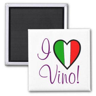 I Love Vino-Italian Flag Square Magnet