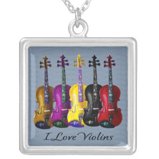 I LOVE VIOLINS-2 SILVER PLATED NECKLACE