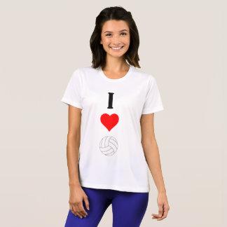 I Love Volleyball Heart Women's Sport-Tek T-Shirt