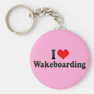 I Love Wakeboarding Basic Round Button Key Ring
