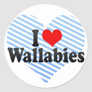 I Love Wallabies Classic Round Sticker