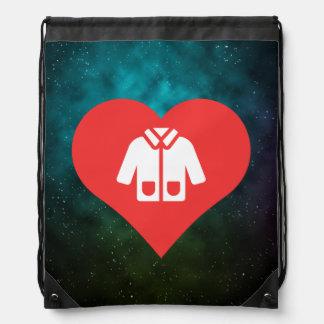 I Love Warm Jackets Design Drawstring Backpacks