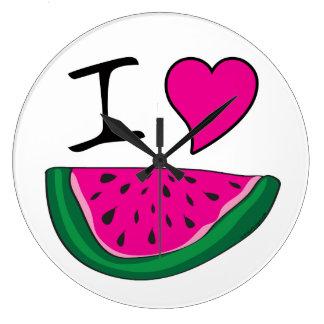 I Love Watermelon Large Clock