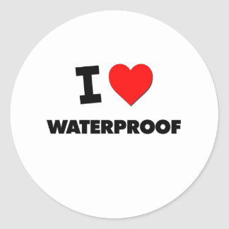I love Waterproof Classic Round Sticker