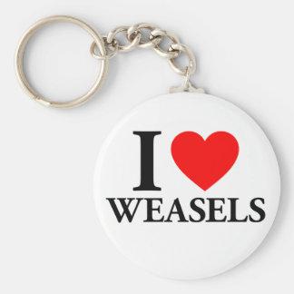 I Love Weasels Key Ring
