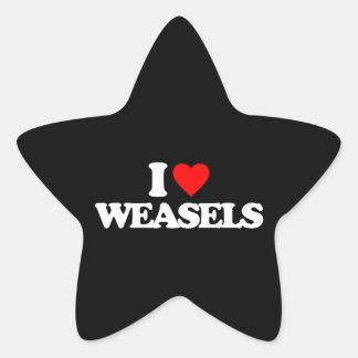 I LOVE WEASELS STAR STICKER