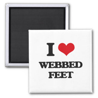 I love Webbed Feet 2 Inch Square Magnet