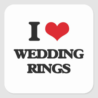 I love Wedding Rings Square Sticker