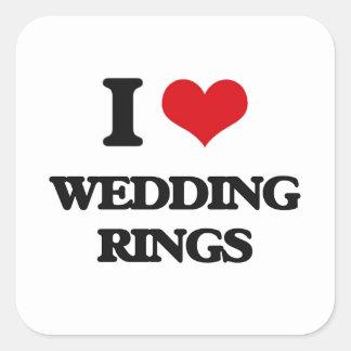 I love Wedding Rings Square Sticker