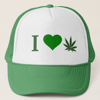 i love weed trucker hat