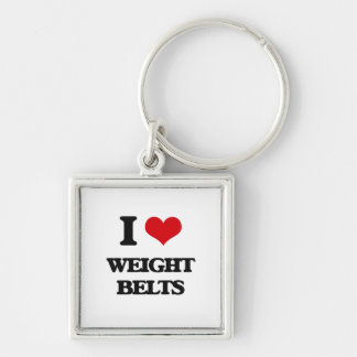I love Weight Belts Silver-Colored Square Keychain