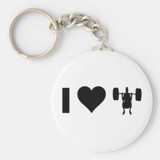 I Love Weight Lifting Basic Round Button Key Ring