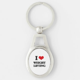 I love Weight Lifting Silver-Colored Oval Keychain