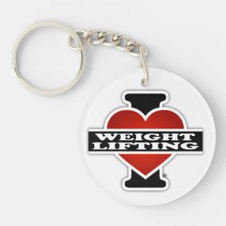 I Love Weight Lifting Single-Sided Round Acrylic Key Ring