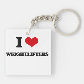 I love Weightlifters Double-Sided Square Acrylic Keychain