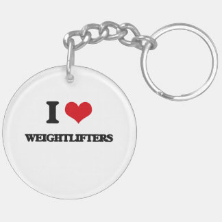 I love Weightlifters Double-Sided Round Acrylic Keychain