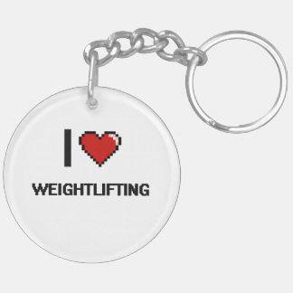 I Love Weightlifting Digital Retro Design Double-Sided Round Acrylic Keychain