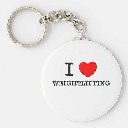 I Love Weightlifting Key Chain