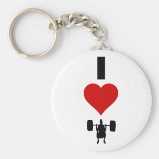 I Love Weightlifting (Vertical) Basic Round Button Key Ring
