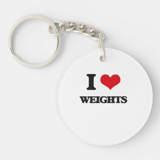 I love Weights Single-Sided Round Acrylic Keychain