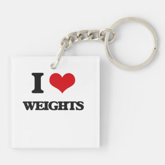 I love Weights Double-Sided Square Acrylic Keychain