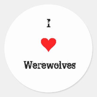 I Love Werewolves Classic Round Sticker