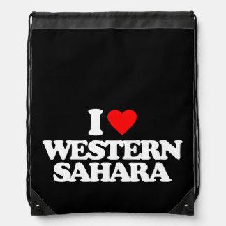 I LOVE WESTERN SAHARA DRAWSTRING BAG