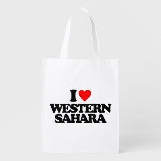 I LOVE WESTERN SAHARA REUSABLE GROCERY BAGS
