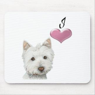 I love Westie dog art design Mouse Pad
