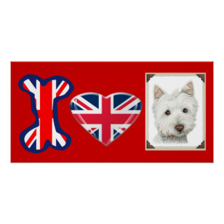 I love Westie Dog, Union Jack Poster