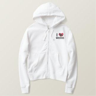 I Love Westies Ladies Embroidered Hoodie