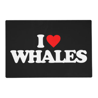 I LOVE WHALES LAMINATED PLACE MAT