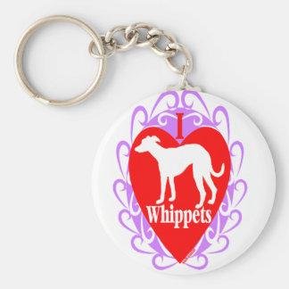 I Love Whippets  B Key Ring