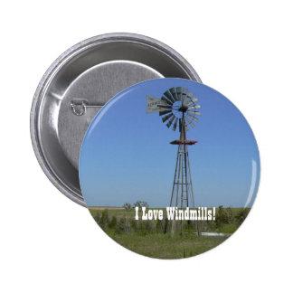 I Love Windmills! 6 Cm Round Badge
