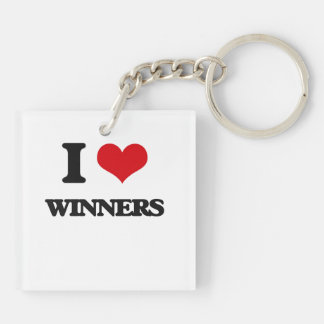 I love Winners Double-Sided Square Acrylic Keychain