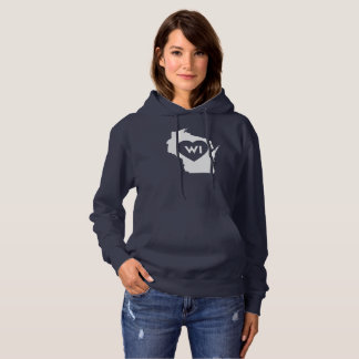 I Love Wisconsin State Women's Hooded Sweatshirt