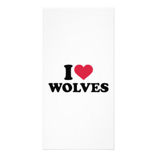 I love wolves personalised photo card