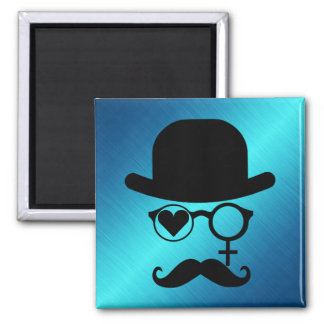 I Love Woman Magnet Moustache Black Red