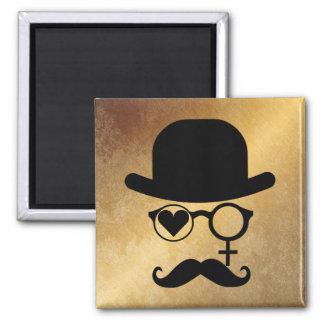 I Love Woman Magnet Moustache Black Red