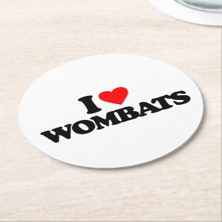 I LOVE WOMBATS ROUND PAPER COASTER