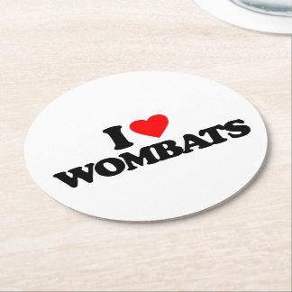 I LOVE WOMBATS ROUND PAPER COASTER