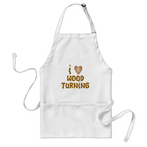 I Love Wood Turning Wooden Heart Apron